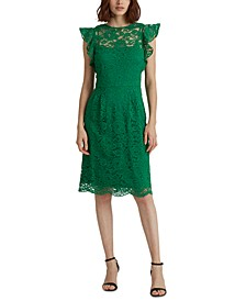 Laure Ralph Lauren Flutter-Sleeve Lace Dress