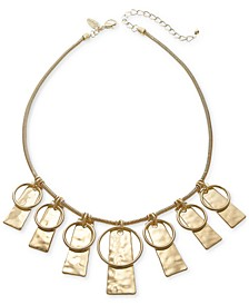 "Circle & Hammered Rectangle Statement Necklace, 21"" + 3"" extender, Created for Macy's"