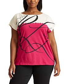 Plus Size Logo Top With Tie-Dye