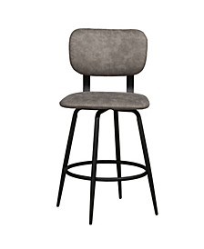 Retro Metal Upholstered Seat and Back Swivel Counter Height Stool, Set of 2