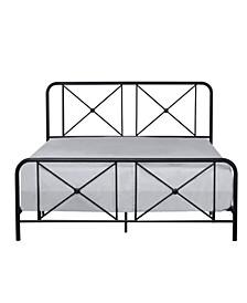 Williamsburg Metal Bed with Decorative Double X Design, Queen