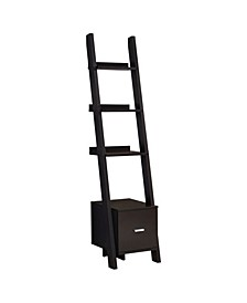"""Bookcase - 69"""" H Cappuccino Corner Etagere with Drawer"""