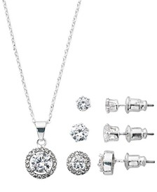 "Fine Silver Plate Cubic Zirconia Necklace and Stud Earring Set, 18"" + 3"" extender"