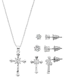 "Fine Silver Plate Cubic Zirconia Cross Necklace and Stud Earring Set, 18"" + 3"" extender"
