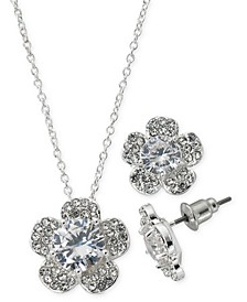 "Fine Silver Plate Cubic Zirconia Pansy Flower Necklace and Stud Earring Set, 18"" + 3"" extender"