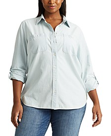 Plus-Size Cotton Chambray Shirt