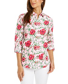 Linen-Blend Printed Tab-Sleeve Shirt, Created for Macy's