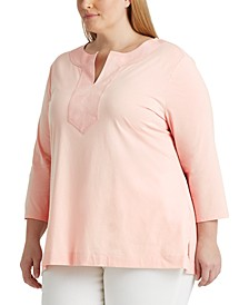Plus-Size Jersey Elbow-Sleeve Top