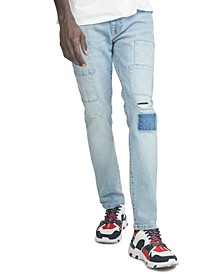 Men's Slim-Tapered Fit Stretch Patchwork Destroyed Jeans