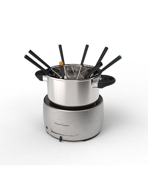 "Classic Cuisine Stainless Steel Fondue Pot Set - 10"" Forks"