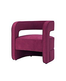 Neil Velvet Barrel Accent Chair with Open Back