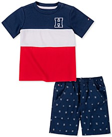Baby Boys 2-Pc. Wide Stripe T-Shirt & Printed Shorts Set