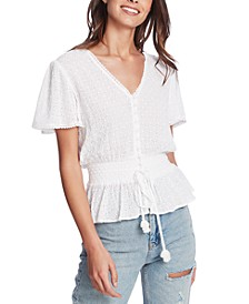 Eyelet-Embroidered Smocked-Waist Top