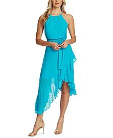 Flocked Ruffled Asymmetrical Dress