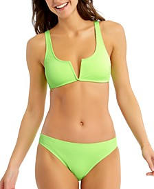 Juniors' Ribbed Bikini Top & Bottoms, Created for Macy's