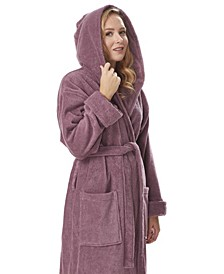 Women's Organic Hooded Full Length Turkish Cotton Bathrobe