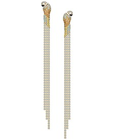 Gold-Tone Tropical Parrot Crystal Chain Linear Earrings