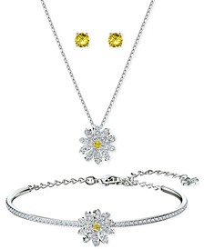 Silver-Tone 3-Pc. Set Eternal Flower Stud Earrings, Bangle Bracelet, and Pendant Necklace