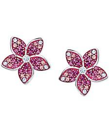 Silver-Tone Tropical Flower Stud Earrings