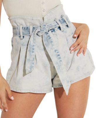 Acid Wash Belted Bustier Shorts