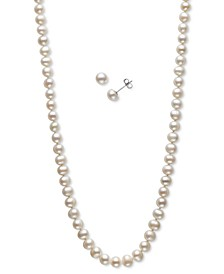 "2-Pc. Set Cultured Freshwater Pearl (5-6mm) 18"" Strand Necklace & Matching Stud Earrings"