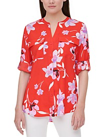 Floral-Print Roll-Tab Shirt