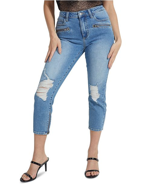 GUESS 1981 Destroyed Cropped Moto Skinny Jeans