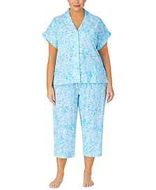 Plus Size Printed Cotton Capri Pajama Set