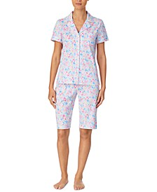Printed Cotton Bermuda Shorts Pajama Set