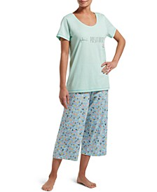 Women's Plant Positivity T-Shirt & Capri Pants Pajama Set