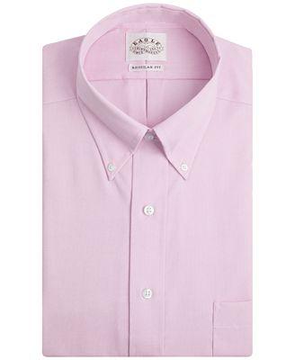 Eagle Men's Classic-Fit Non-Iron Pink Twill Dress Shirt - Dress ...