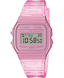 Unisex Digital Pink Jelly Strap Watch 35.2mm