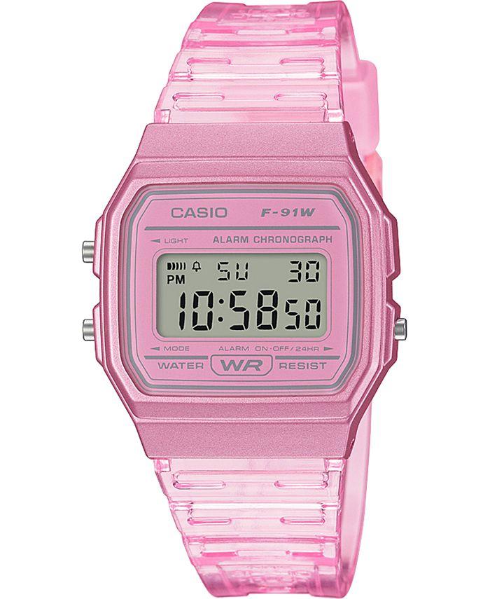 Casio - Unisex Digital Pink Jelly Strap Watch 35.2mm