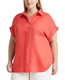 Plus Size Linen Dolman-Sleeve Top
