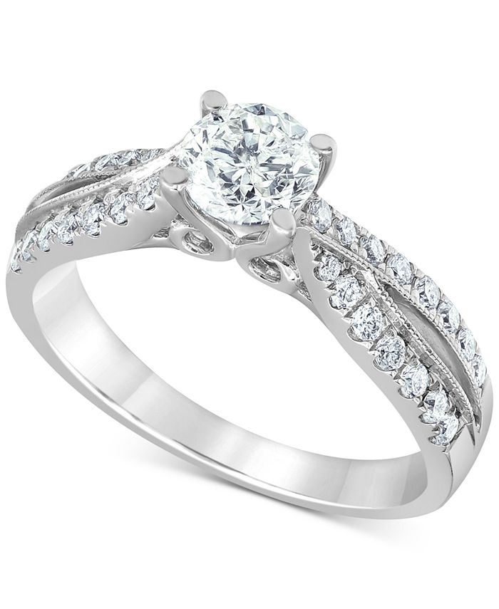 Macy's - Diamond Twist Engagement Ring (1-1/8 ct. t.w.) in 14k White Gold
