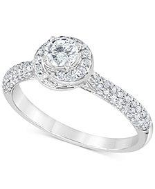 Diamond Swirl Halo Engagement Ring (3/4 ct. t.w.) in 14k White Gold