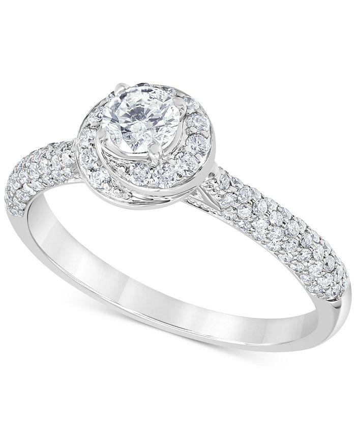 Macy's - Diamond Swirl Halo Engagement Ring (3/4 ct. t.w.) in 14k White Gold