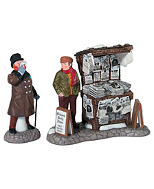 Department 56 Dickens' Village  Set of 2 London Newspaper Stand Collectible Figurine