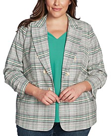 Trendy Plus Size Plaid Cassia Blazer