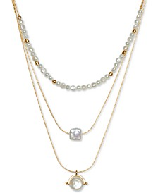 """Gold-Tone Imitation Pearl Convertible Layered Necklace, 17"""" + 2"""" extender"""