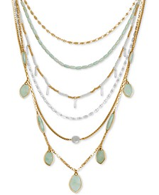 "Two-Tone Stone & Imitation Pearl Beaded Convertible Statement Necklace, 18"" + 2"" extender"
