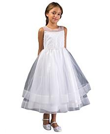 Big Girl Beaded Illusion Communion Dress