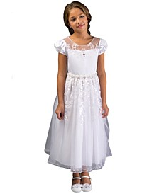 Big Girl Border Illusion Communion Dress