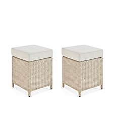 Canaan All-Weather Wicker Outdoor Square Stools with Cushions Set