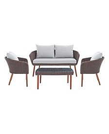 Athens All-Weather Wicker Outdoor Conversation Set with Coffee Table Set