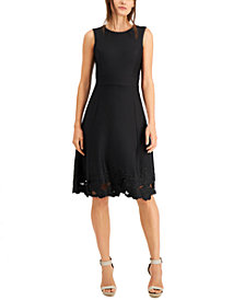 Calvin Klein Lace-Hem Fit & Flare Dress