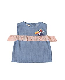Toddler Girls Toucan Chambray Ruffle Top