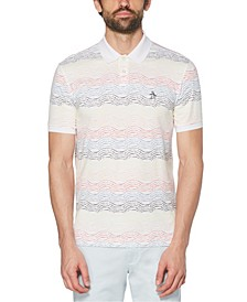 Men's Tie Dye Stripe Short Sleeve Polo Shirt