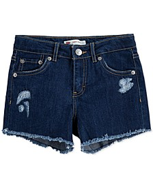 Big Girls Distressed Stretch Denim Shorty Shorts
