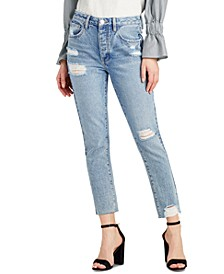 Sam Edelman The Stiletto Cotton Ripped Straight-Leg Jeans